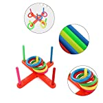 Lavendei 2018 Newest Funny Toys Hoop Ring Toss Plastic Ring Toss Quoits Garden Game Beach Pool Toy Indoor & Outdoor Family Fun Game Stress Relief Toy Best Gift for Children Adult