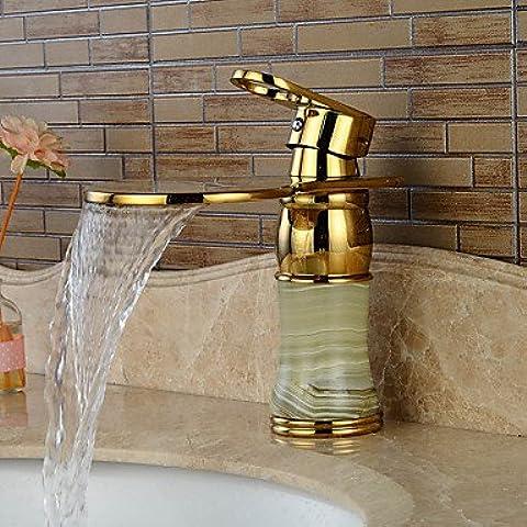 BSFCJ Rubinetto,Giada Ti-PVD monocomando monoforo bagno rubinetto lavabo cascata