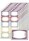 80 Etiketten 'Bunte Zierrahmen' zum Bedrucken, Beschriften, DIN A5, selbstklebend, leicht ablösbar, für Einmachgläser, Gebäcktüten, Give-Aways