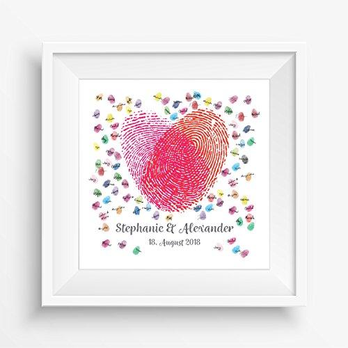 1f1de217ec Madyes Tela impronta digitale guestbook matrimonio coppia regalo  personalizzato sposa, decorazione di nozze, nomi con data. 50x50 cm di  grandi dimensioni in ...