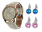 Geneva Platinum Analogue Silver Dial Girl's & Women's Watch With 2 Pair Earring Combo (299)