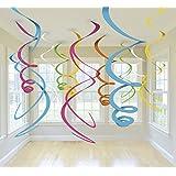Ailiebhaus Lot de 15 Décorations guirlande multicolores suspendue spirales