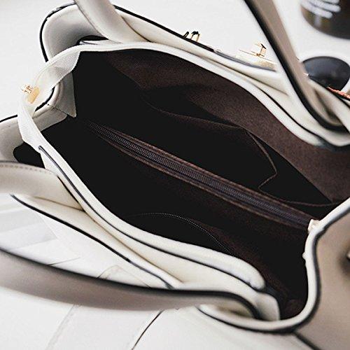 Frauen Mode Stickerei Leder-Handtasche Schultertasche Umhängetasche Multicolor Black
