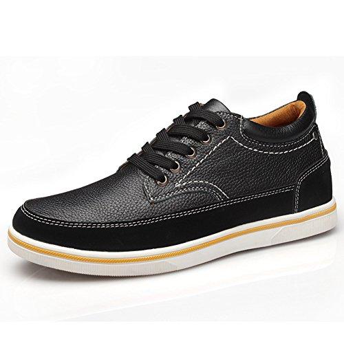 chaussures d'hiver chaud pour homme Sneakers Derbies plat caché ascenseur printemps Noir