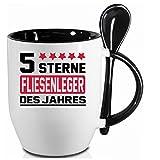 2 Tassen FLIESENLEGER + WM Pott. Schwarzer Becher und Fussballtasse. Siehe auch Produktbild 2.