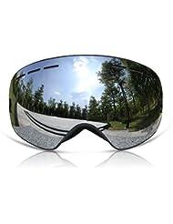 gafas de esquí unisex snowboard todo-alrededor gafas ski sin marco Gafas de para esquiar doble panel Lente de E / S antivaho (Silver)