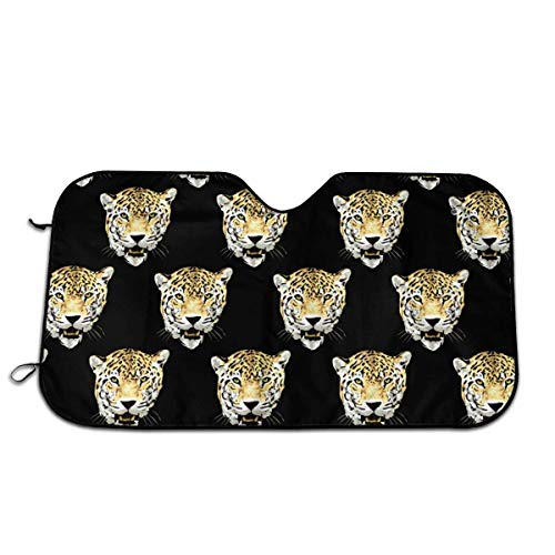 BetterShopDay Wild Leopard Head Car Windshield Sunshade Universal Fit Keep Your Vehicle Cool. UV Sun and Heat Reflector -