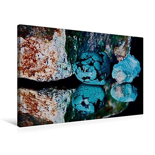 Premium Textil-Leinwand 75 cm x 50 cm quer, Türkis getrommelt und Rohstein | Wandbild, Bild auf Keilrahmen, Fertigbild auf echter Leinwand, ......