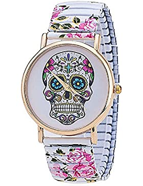 Flower Spring Armbanduhr Edelstahl Totenkopf bedruckt Skelett Armbanduhr