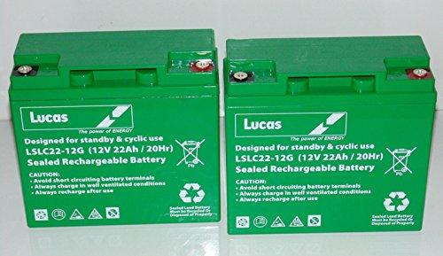 2x Lucas Batterien für Roller, elektrischen Rollstuhl, 12V, 22Ah (171820), AH AGM/GEL