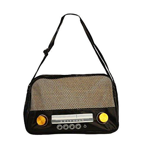 Rockabilly Handtasche Henkeltasche l Radio Vintage Style Kofferradio l 100% PVC (ca.40x24x12 cm, 22585-001-000)