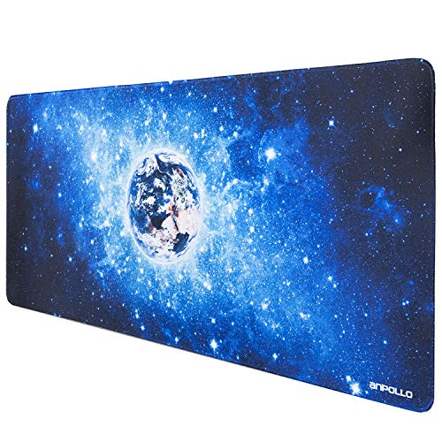 Anpollo mouse pad game xxl grande tappetino per mouse professionale antiscivolo in gomma gaming speed tappetino per mouse per pc computer- star planet earth - 90x40cm