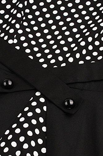 Babyonlinedress Robe de Soirée/Bal Courte Rétro Vintage Impression année 1950 Style Audrey Hepburn Rockabilly Swing sans manche avec Boutons Grande Taille Pois Noir