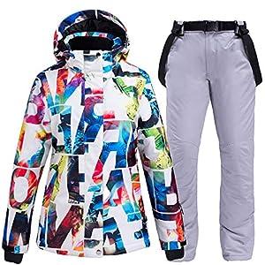BYSDSG Einteiliger Skianzug, DamenSchneeanzugKleidung Set Ski Kostüme Wasserdicht Winddicht Winterbekleidung Berg Snowboard Ski JackenSchneelatzhosen