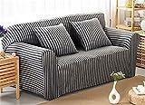 zerci Universal Sofa Sets All Inclusive Baumwolle Strick gestreift Sofa Cover Sofabezüge Vier Jahreszeiten, Color 1, Loveseat