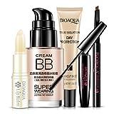 5 STÜCKE Helle Kosmetik Make-Up Set Kosmetik Haut-Make-Up-Set Lippenbalsam BB Creme Augenbrauenstift Mascara Creme Make-Up Basis - Multicolor