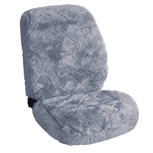 WOLTU AS7334sb Luxury Lambskin Wool Fleece Car Seat Cover Cushion Sheepskin Silver For Decoration And Warm In Winter