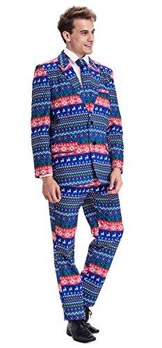 YOU LOOK UGLY TODAY Modisch Normaler Schnitt Herren Party Anzug Weihnachten Kostüme Party Suits Festliche Anzüge mit lustigen Mustern Test