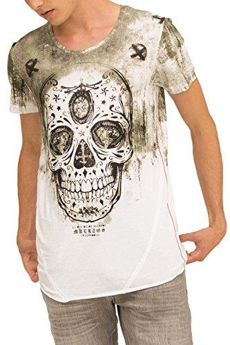 trueprodigy Casual Herren Marken T-Shirt mit Aufdruck, Oberteil cool und stylisch mit Rundhals Ausschnitt (Kurzarm & Slim Fit), Shirt für Männer Bedruckt Farbe: Khaki 1073111-0629-XXL