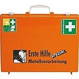 SÖHNGEN Erste-Hilfe-Koffer Metallverarbeitung, Wandhalterung, Orange, Din 13157, mit PRÜFPLAKETTE