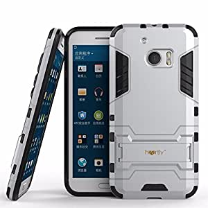 Heartly HTC One M10 / HTC 10 Back Cover Graphic Kickstand Hard Dual Rugged Armor Hybrid Bumper Case - Champagne Silver