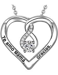 fbbb0f0212f9 LOVORDS Collar Mujer Grabado Plata de Ley 925 Colgante Corazón Regalo Madre  Mamá