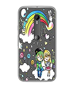 Fuson Designer Back Case Cover for Motorola Moto G3 :: Motorola Moto G (3rd Gen) :: Motorola Moto G3 Dual SIM (Love Heart Rainbow Couple Kiss)