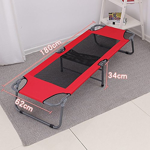 Liegestuhl Klappstuhl-Klappbett-Büro-Siesta-Bett Im Freien Leichter Portable-Strandbett-Recliners-Rot-Blau (Farbe : Rot, größe : Style 1)