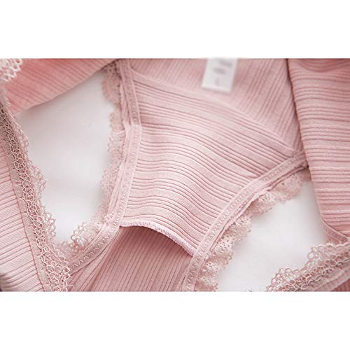 Haodou String mit Spitze Damen Unterhose Baumwolle Unterwäsche Reizvolle Wäsche durchsichtige Tanga G-Schnur Schlüpfer Damenwäsche Dessous Länge 21cm (Rosa A-M) - 5