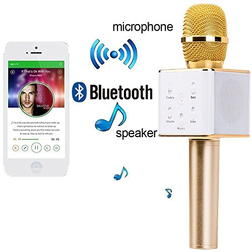 House of Gifts Karaoke Mic Wireless, Portable Handheld Singing Machine Condenser Microphones Mic And Bluetooth Speaker Compatible with iPhone/ iPad/ iPod/ and all android smartphones by House of Gift