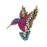 Xinqin Ding Antique Gold Tone Bird Hummingbird Multi Color Woodpecker Crystal Pin Brooch Pendant Corsage Pin Scarf Buckle