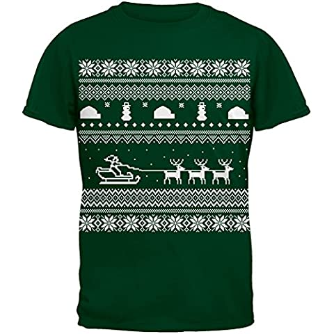 Santa Sleigh brutto Natale maglione verde Youth t-shirt