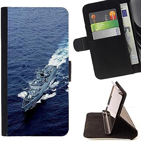 Momo Phone Case / Flip Funda de Cuero Case Cover - Destructor Ejército Naturaleza EE.UU. Armada - Samsung Galaxy S5 Mini, SM-G800
