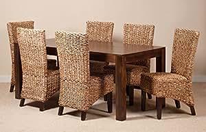 Milan Salon de jardin en rotin 6 chaises Dakota Table foncé