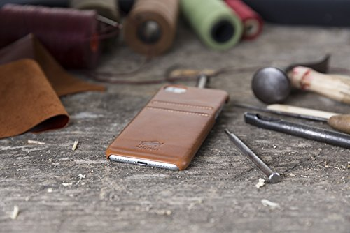 "Solo Pelle Iphone 7 / 8 Case Lederhülle Ledertasche Backcover "" Slimfit "" in Schwarz Cognac Braun"