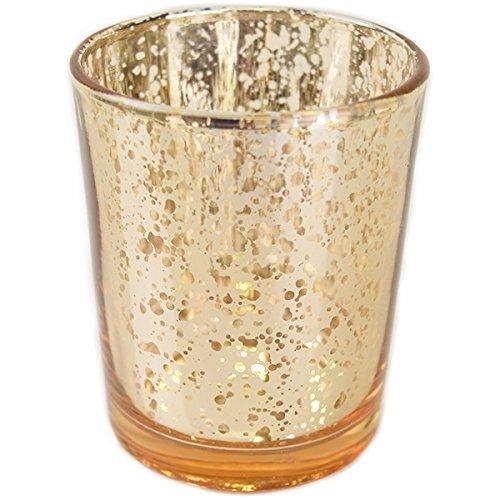 Just Artifacts Quecksilber Glas Votiv-Kerzenhalter Einheitsgröße gesprenkelt Silber (Silber-quecksilber Glas Votives)
