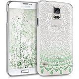 kwmobile Crystal Case Hülle für Samsung Galaxy S5 / S5 Neo / S5 LTE+ / S5 Duos mit Indische Sonne Design - transparente Schutzhülle Cover klar in Mintgrün Weiß Transparent