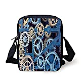 Clock Decor,A Set of Clock Gears Steel Cogwheels Pattern Mechanical Theme Design,Blue and Sand Brown Print Kids Crossbody Messenger Bag Purse