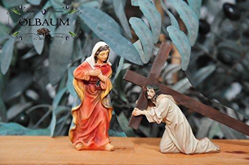 Weihnachtskrippen-Zubehör-Set mit LED-Beleuchtung Station 4-1 Jesus trifft seine Mutter, Jesus fällt zum ersten Mal unter dem Kreuz, mgl. Bibel Mt 5,38-42,- Passion Christi - für 9-10 cm Figuren