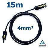 15 m Reiter-Solar SKBS4015 Solarkabel 4 mm - PV Verbindungs-Kabel rot oder schwarz mit Buchse und Stecker MC4 kompatibel, Farbe:Schwarz
