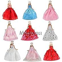 Miunana 3 X Estilo al azar Vestido de Noche Princesa Falda Ropa de Fiesta Partido Boda para Muñeca Barbie Doll Regalo