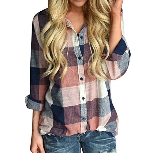 LUGOW Langarmshirts Blusen Damen Streifen Passende Farbe Schaltfläche Plaid T Shirt Online Tuniken Sweatshirt T-Shirt Bluse Oberteil Tunika Pullover V-Ausschnitt Tops(Medium,Orange) -