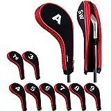 Andux golf Schlägerkopfhüllen Anzahl Print Golf Eisen deckt mit Reißverschluss langen Hals 10pcs/set MT/w05 schwarz/rot