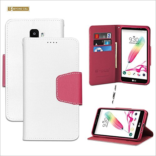 Außerhalb Zelle® infolio® LG Stylo 2 Fall, ls775, LG G Stylus 2 Fall, K520, E520, Dual Schutz Luxus PU Leder Folio Flip Cover Wallet Phone Cover mit Integrierter Ständer & Card Slots, Weiß/Rosa - Cash Register Taste