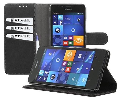 StilGut Talis, Hülle mit Standfunktion und Kreditkartenfach für Microsoft Lumia 950, Schwarz Vintage