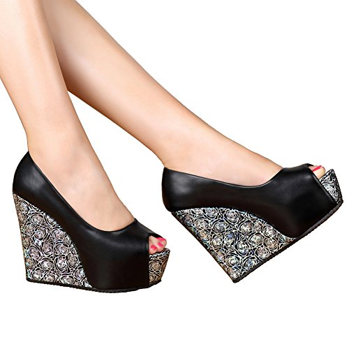 alla caviglia GetmorebeautyUpdate Strap Black donna Rw7Tw5nq