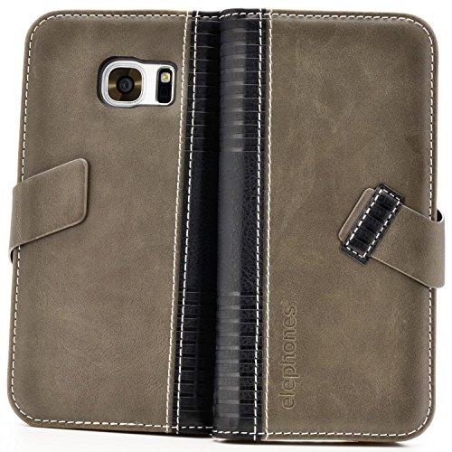 Handyhülle für Samsung Galaxy S7 Hülle Schutzhülle Handytasche Case Cover Grau mit Kartenfach Grau
