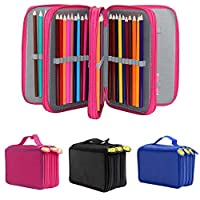 Caxmtu 72 Holes Nylon Pencil Case Pen Pouch 4 Layers Brush Holder Bag For Colored Pencils Art School Supplies