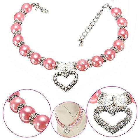 LanLan Stylish Pink Pet Puppy Dog Cat Piggy Pearl Necklace