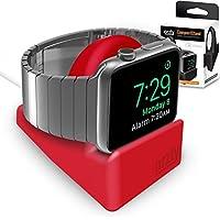 Orzly® Night-Stand for Apple Watch - ROSSO Supporto con Scanalatura per nascondere il vostro cavo di carico (Grommet caricatore e cavo non incluso)